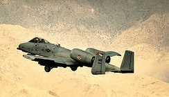 A-10 Thunderbolt II assigned to the 104th Expeditionary Fighter Squadron, assigned to the 455th Air Expeditionary Wing  taking off at Bagram Airfield, Afghanistan, 28 June 2012.