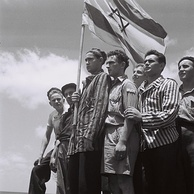 Buchenwald concentration camp survivors arrive in Haifa to be arrested by the British, 15 July 1945