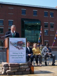 Schumer and Hillary Clinton at Erie Canal Harbor opening ceremony