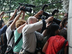 Press photographers in Hong Kong.