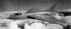 An Avro 707 in flight during 1951; this type was developed to test the tailless thick delta wing configuration chosen for the Avro Vulcan