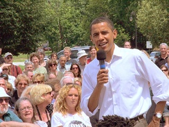 Barack Obama campaigning in New Hampshire, August 2005