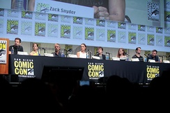From left: Zack Snyder (director), Holly Hunter, Jeremy Irons, Gal Gadot, Jesse Eisenberg, Amy Adams, Henry Cavill and Ben Affleck at the 2015 San Diego Comic-Con