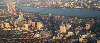 Aerial view of the Back Bay and Cambridge