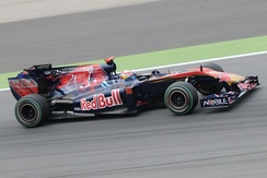 Buemi driving the Toro Rosso STR5 during practice for the 2010 Spanish Grand Prix
