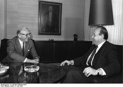 Carrington (then NATO Secretary General) with West German Foreign Minister Genscher in Bonn, 1984