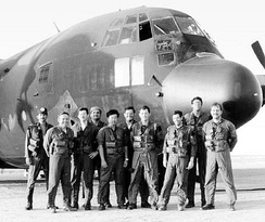 "Photo of MC-130E, AF Ser. No. 64-0564, and ""Dragon 2"" crew just before departing for Desert One."