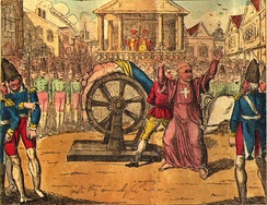The death of Jean Calas, who was broken on the wheel at Toulouse, 9 March 1762