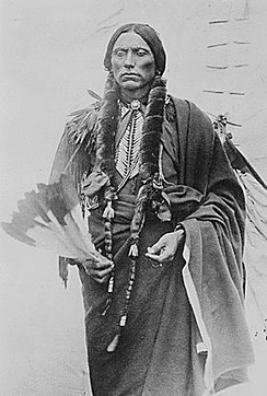 Quanah Parker, son of a Comanche Chief and an Anglo-Texas settler. His family's story spans the history of the Texas–Indian wars.