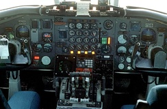 The cockpit instrument panel of the USN UC-880