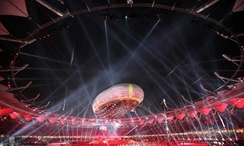 The 2010 Commonwealth Games opening ceremony in Jawaharlal Nehru Stadium. In the foreground is the aerostat.