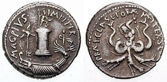 A Sextus Pompeius denarius, minted for his victory over Octavian's fleet. On the obverse is the Pharos of Messina, on the reverse the monster Scylla.