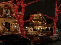 "The Dyker Heights neighborhood (nicknamed ""Dyker Lights"" for its holiday lights displays) of Brooklyn, New York"