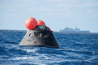 The Orion capsule in the Pacific Ocean, following the successful Exploration Flight Test-1 mission
