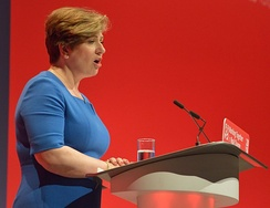 Thornberry giving her Shadow Foreign Secretary speech at the 2016 Labour Party Conference