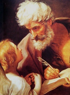 Saint Matthew the Apostle, depicted with an angel, is the patron saint of Salerno, Italy, bankers, and tax collectors.