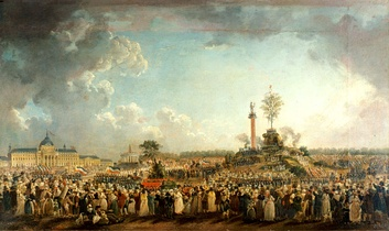 Painting of The Festival of the Supreme Being, June 8, 1794 (by Pierre-Antoine Demachy, 1794).