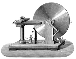 Built in 1831, the Faraday disk was the first electric generator. The horseshoe-shaped magnet (A) created a magnetic field through the disk (D). When the disk was turned, this induced an electric current radially outward from the center toward the rim. The current flowed out through the sliding spring contact m, through the external circuit, and back into the center of the disk through the axle.