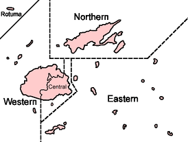 A map of Fiji's administrative divisions.