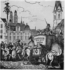 The people of Zürich celebrate dancing around an Arbre de la liberté on the Münsterhof while the French carry off the treasury (1848 woodcut).