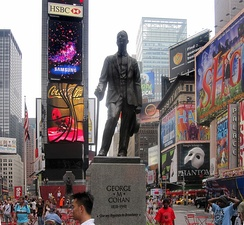 "Cohan's ""Give My Regards to Broadway"" statue in Times Square in New York City"