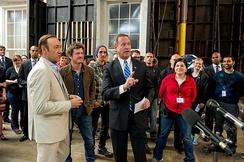 Maryland Gov. Martin O'Malley visits the set of House of Cards at Joppa, Maryland in 2013