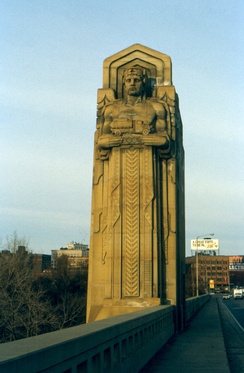 One of Hering's Guardiuans of Traffic which stand on either side of the Hope Memorial Bridge in Cleveland, Ohio