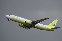Jin Air Boeing 737-800 take off at Gimpo International Airport