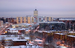 The Swedish suburbs of Husby/Kista/Akalla are built according to the typical city planning of the Million Programme.