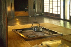 Japanese traditional hearth (Irori)