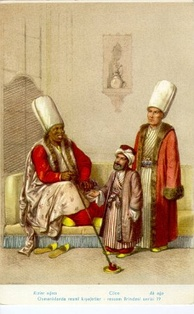 19th-century depiction of the Chief Black Eunuch (left), a court dwarf (middle) and the Chief White Eunuch (right)
