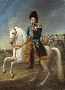 Crown Prince Charles John at the Battle of Leipzig (1813). Painting by Fredric Westin.