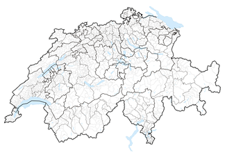 Map of Switzerland showing cantonal, districts and municipal boundaries (2018).