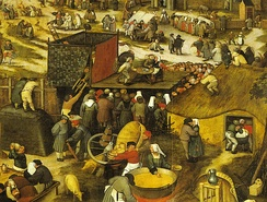 Village feast with theatre performance circa 1600.