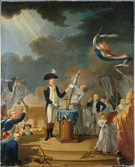 Lafayette leading the oath (18th c. oil painting, Musée Carnavalet)