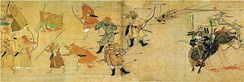 A Mongol bomb thrown against a charging Japanese samurai during the Mongol invasions of Japan after founding the Yuan Dynasty, 1281.