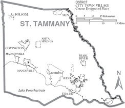 Map of St. Tammany Parish, with municipal labels