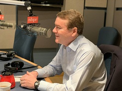 Michael Bennet on-air during The Exchange in 2020
