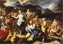 "18th-century painting, ""The Song of Miriam,"" by Paulo Malteis, Italy. Celebration after crossing the Red Sea from Egypt"