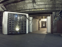 The 25-ton North blast door is the main entrance to another blast door (background) beyond which the side tunnel branches into access tunnels to the main chambers.