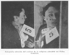 Photo of a nun tortured and murdered in 1936 by Communist and Anarchist militiamen.[better source needed][383]