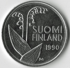В 1967 году ландыш стал национальным цветком Финляндии. Монета Финляндии с изображением ландыша