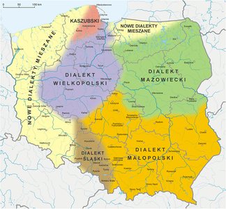 A map of Polish dialects. The area where Greater Poland's dialect is spoken is marked in violet.