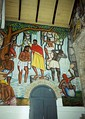 A mural depicting the baptism of Jesus in a typical Haitian rural scenery, Cathédrale de Sainte Trinité, Port-au-Prince, Haiti.