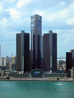 The GM Renaissance Center in Detroit, Michigan.