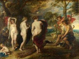 The Judgment of Paris by Peter Paul Rubens (c. 1636), depicting the goddesses Hera, Aphrodite and Athena, in a competition that causes the Trojan War. This Baroque painting shows the continuing fascination with Greek mythology