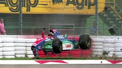 Rubens Barrichello crashed heavily at Variante Bassa during the first qualifying session on Friday.