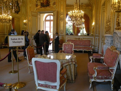 The Grand Salon, or Music Room, which opens onto the garden