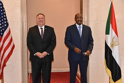 The chairman of Sudan's sovereign council, General Abdel Fattah al-Burhan, with U.S. Secretary of State Mike Pompeo, 2020