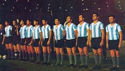 The national team of Argentina in typical kit of the early 1960s.